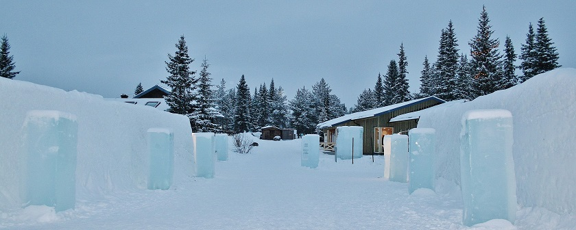 looking out from the ice hotel