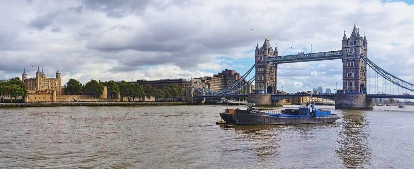 Looking across the Thames at Tower of London and Tower Bridge