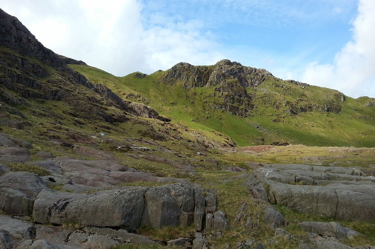 Looking up at the ridge while walking up Scafell Pike