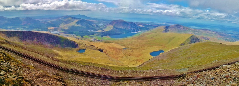 Panoramic view from Snowdon with the rail line in the foreground