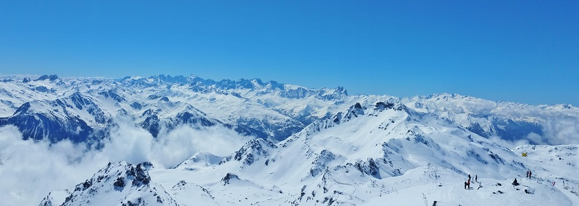 View over the snow covered Alps and Val Thorens