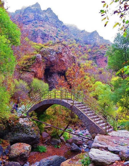stone bridge in the grounds of geghard monastery