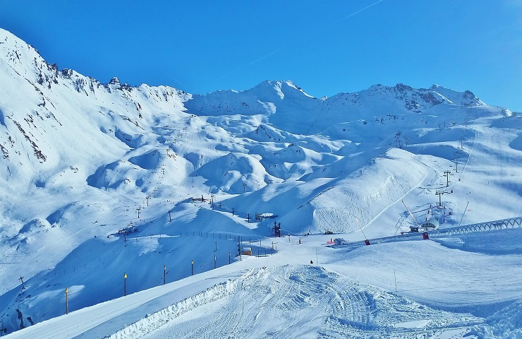 Overlooking the ski slopes of Val d'Isere France