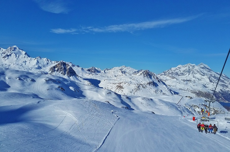 view of Val d'Isere ski slopes from chairlift
