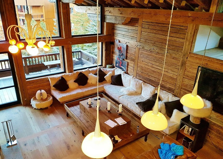 Chalet lounge room from upstairs bedroom