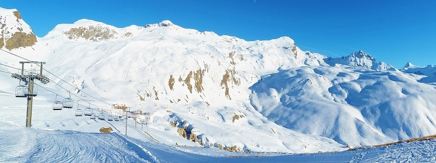 Skiing on an empty ski run