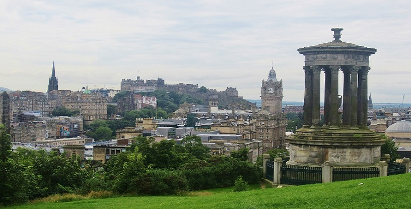 view of Edinburgh and the castle from Carlton hill