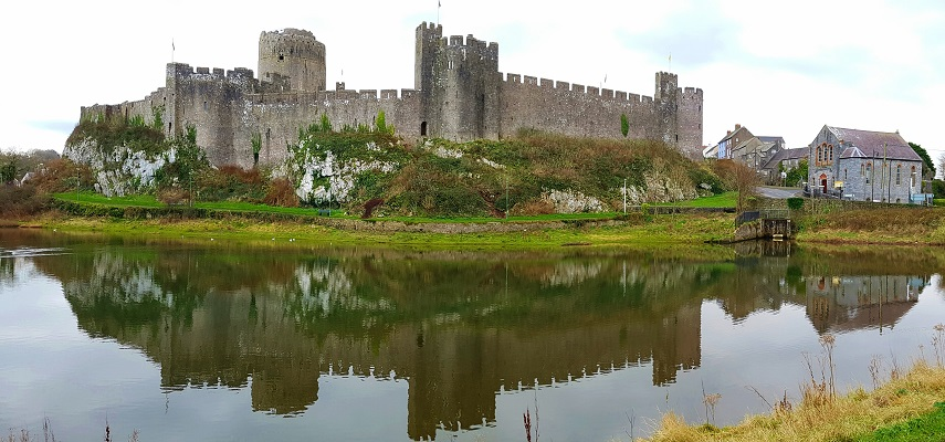 overlooking the lake to Pembroke castle