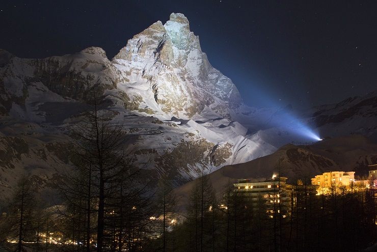 Matterhorn Mountain (Monte Cervino) lit up at night from Cervinia