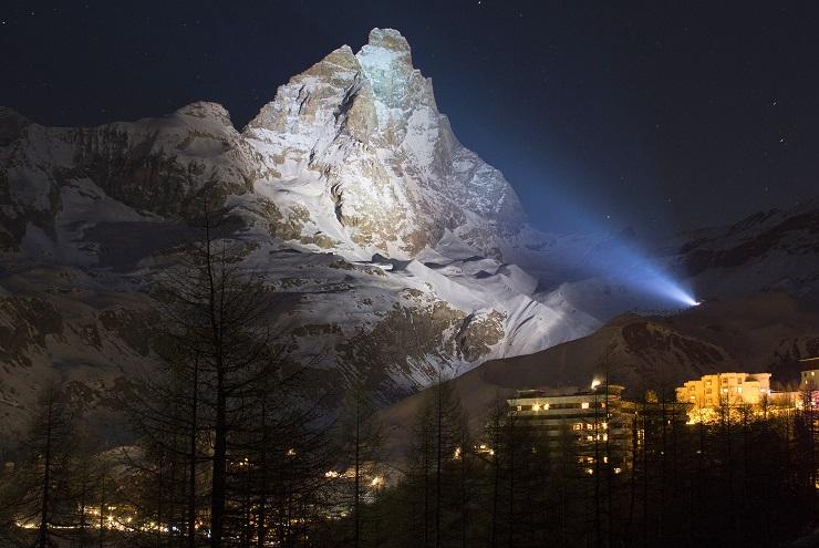 Matterhorn Mountain (Monte Cervino) lit up at night from Cervinia
