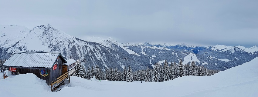 panoramic view on the slopes morzine france ski resort
