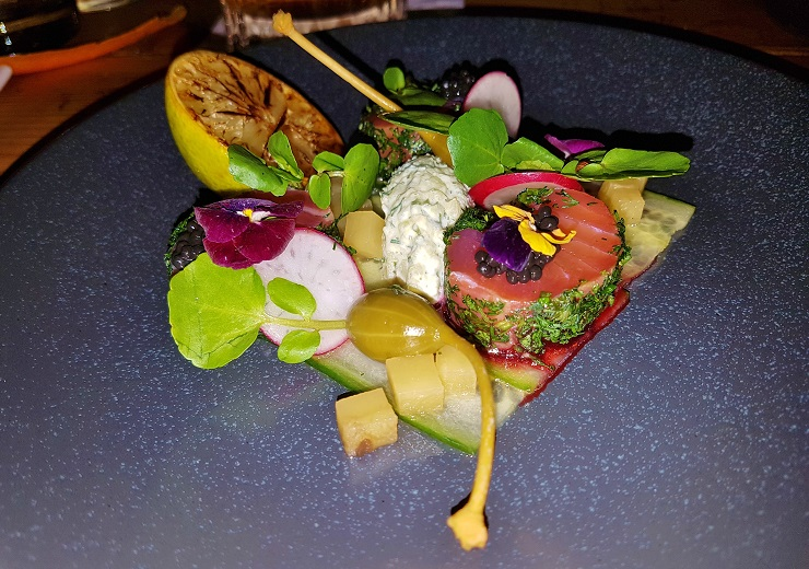 Plate of colourful food