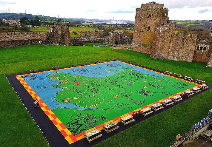 New World Map Pembroke Castle Wales UK History