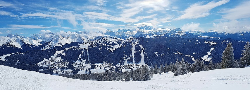 Panoramic of the snow covered Alps