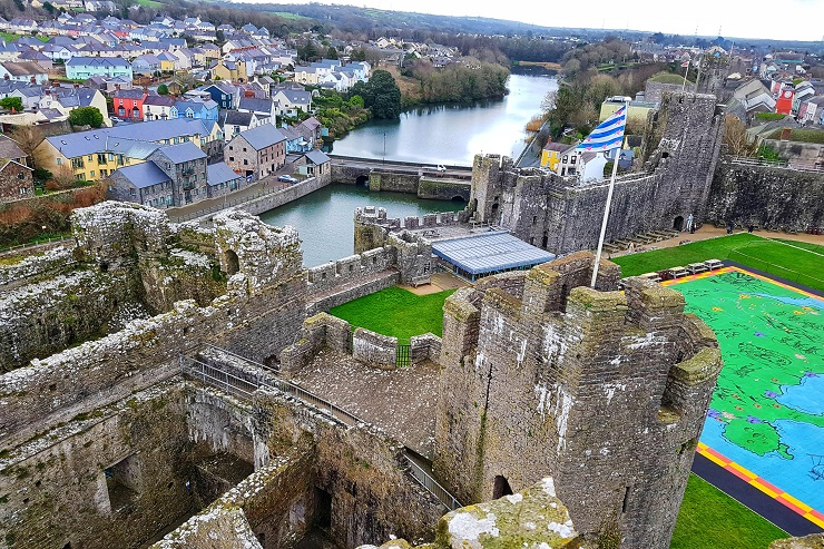 Overlooking Town from the Tower Pembroke Castles History Wales UK