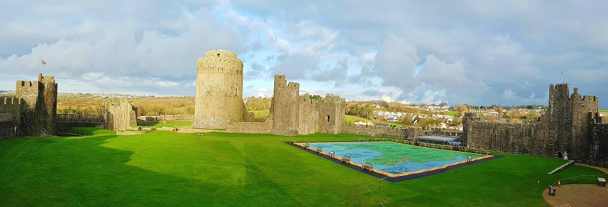 interior grounds of Pembroke Castle