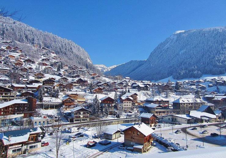 Skiing through Morzine ski resort for Rock the Pistes Festival