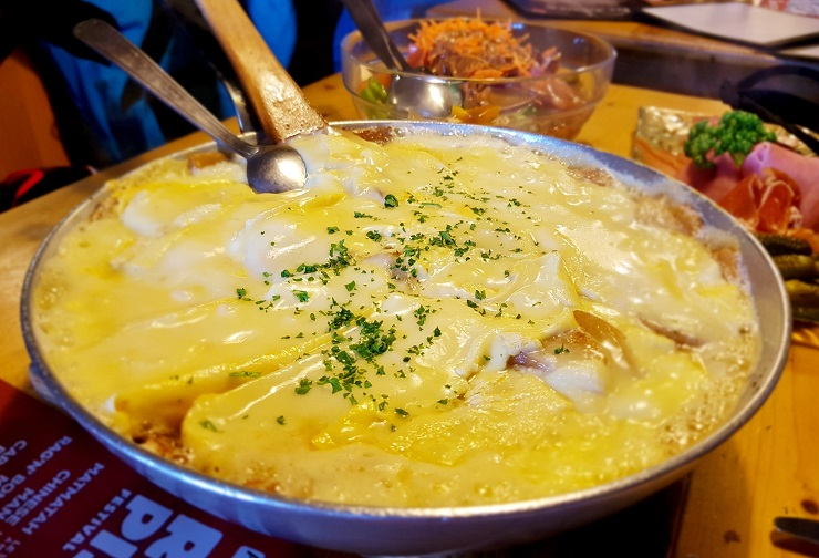 Potatoes with melted Reblochon cheese at Chez Nannon, Morzine France