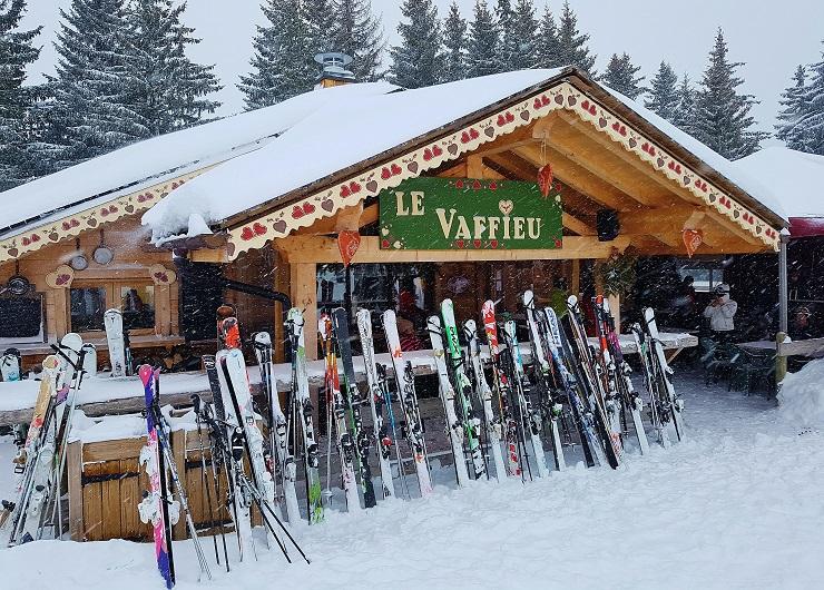 Skis lined up in front of Le Vaffieu Resturant, Les Gets/Morzine France