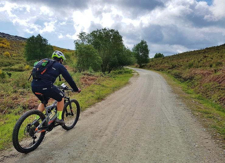 Mountain bike rider on dirt track