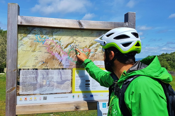 mountain bike guide showing the trail on a map
