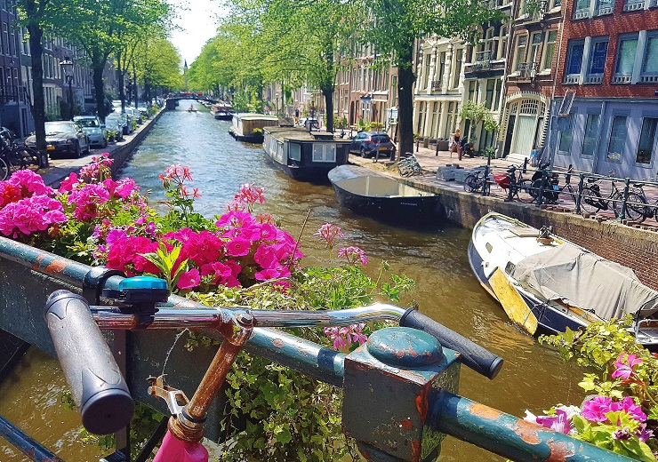 boats on the famous canals of Amsterdam