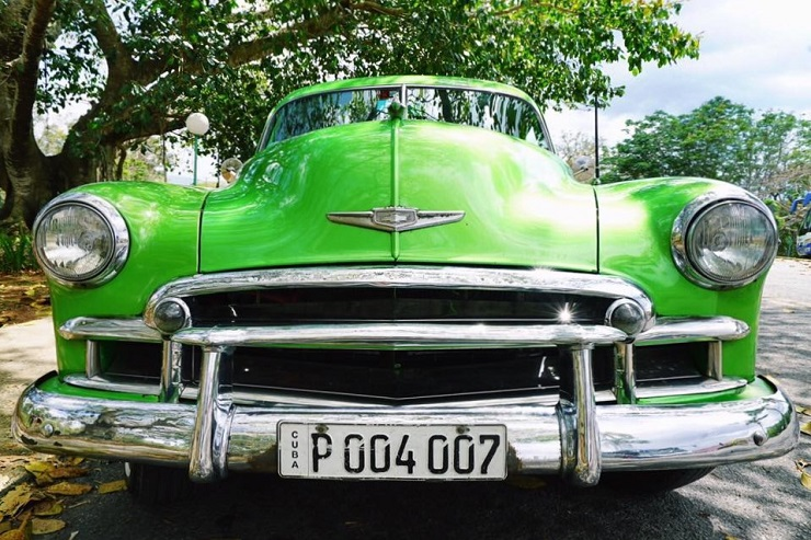 Front of green vintage american car