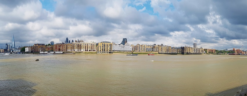 Panoramic view across the Thames to Rotherhithe