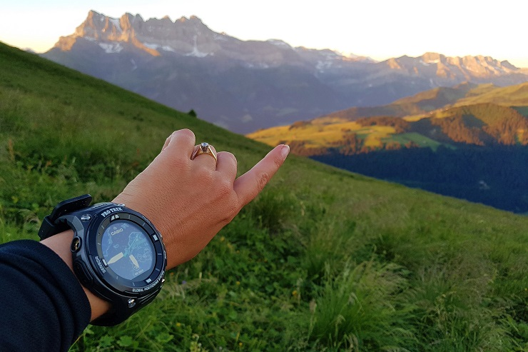 Melbtravel pointing to Dents du Midi showing off Casio Pro Trek watch