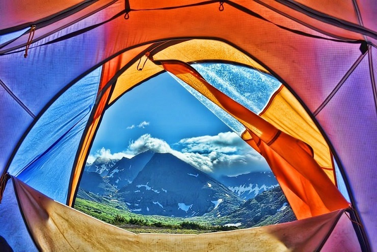 Mountain views out of tent
