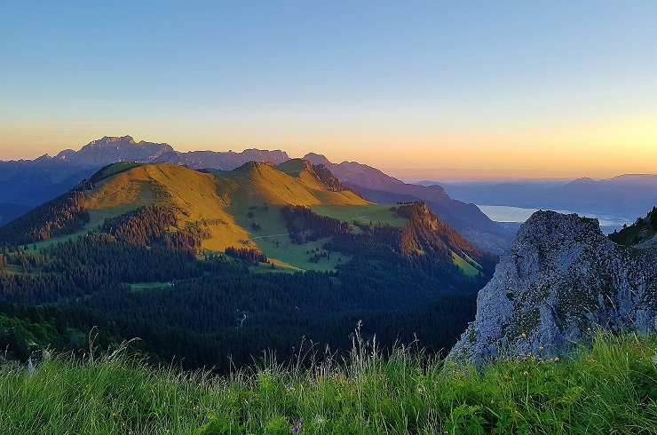 Early morning view over the Swiss Alps