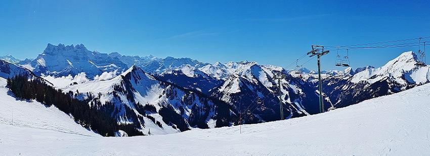 Panoramic view of the snow covered ski runs