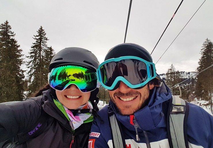 A selfie on the chairlift with my ski instructor