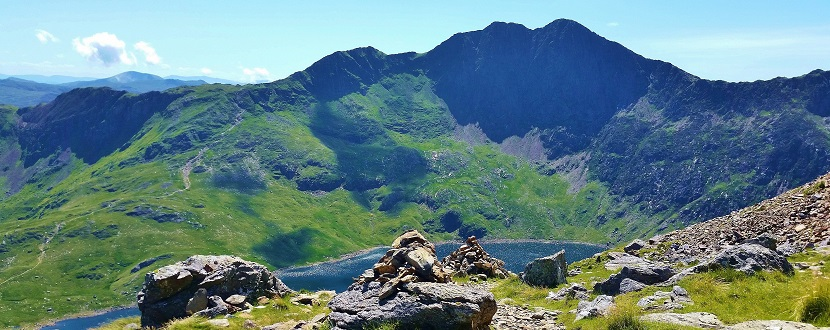 Mountain views while hiking to the summit of Snowdon Wales