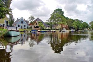 Edam Netherlands traditional houses on the canal Europe