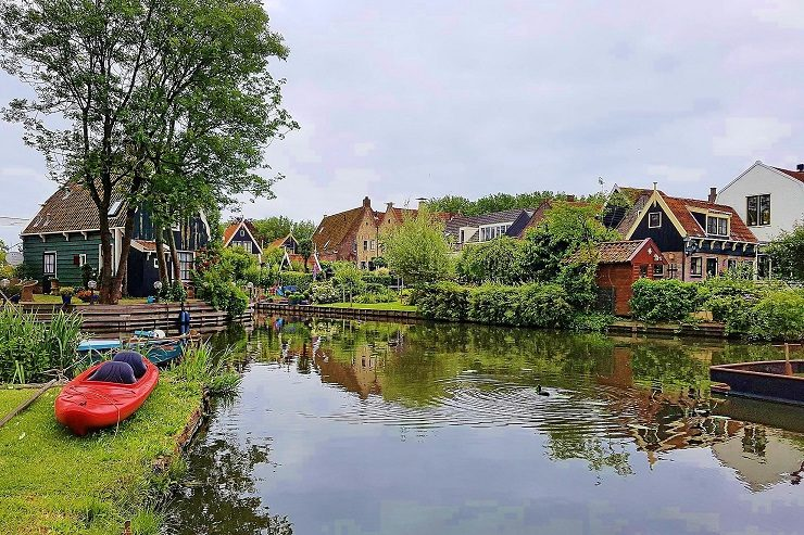 Edam traditional houses on the canal