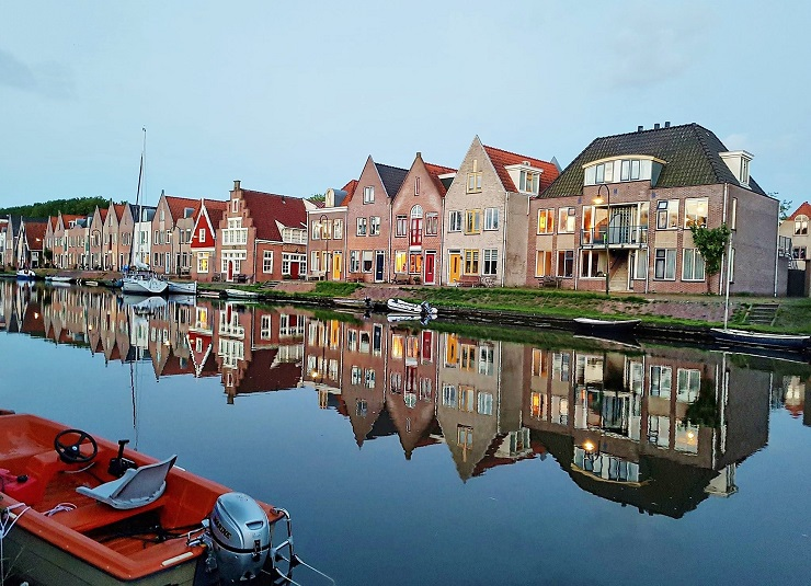Houses lining the canal in Edam Netherlands