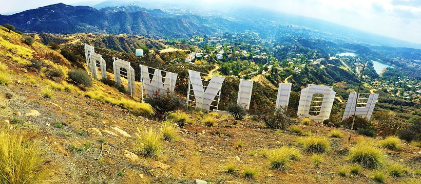 View of Hollywood from behind the sign