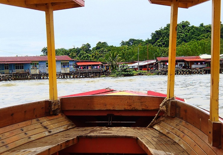 View of Kampong Ayer - Water Village from water taxi