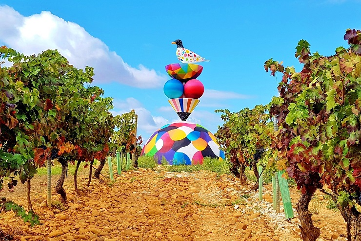 Colourful art installation in the vineyard