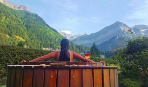 Admiring the views of the Swiss Alps while in the hot tub