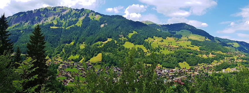 Overlooking the village of Champery Switzerland during summer