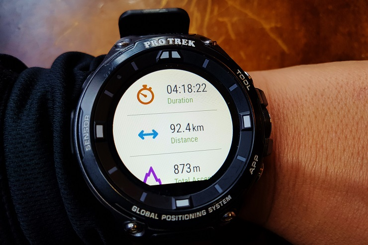 Close up of Protrek watch showing duration, distance and elevation