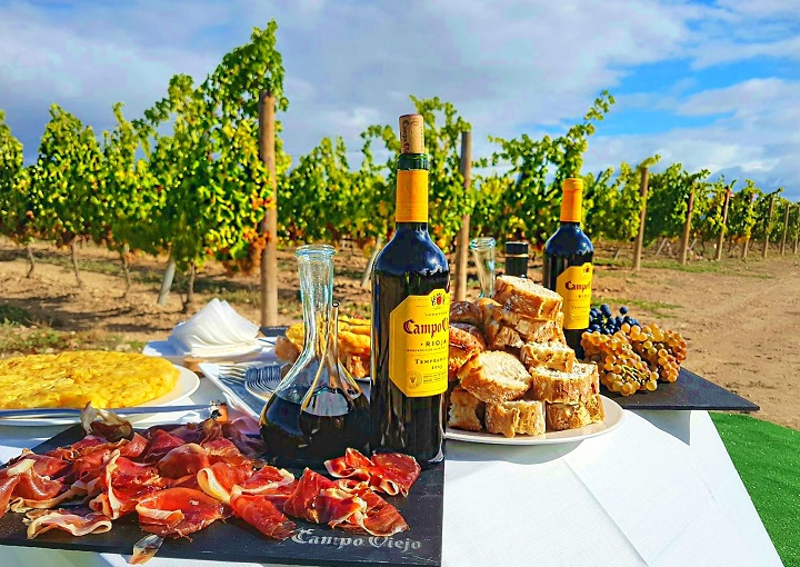 Afternoon snacks and wine in the vineyard