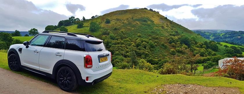 Mini Cooper amongst the hills of Wales