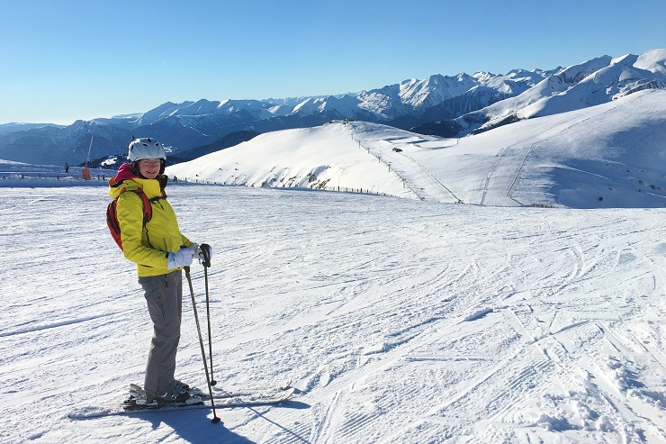 Skiing on the wide open slopes