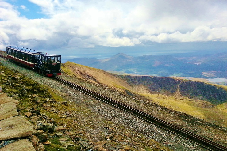 The Snowdon Mountain Railway train on it's way back down the mountain