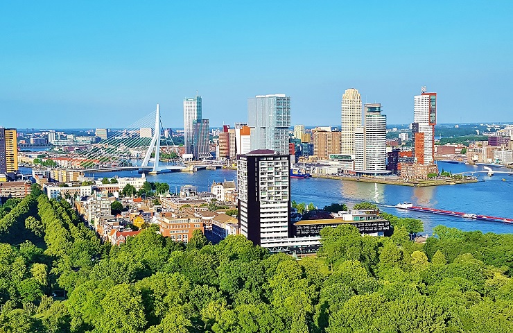 Rotterdam city skyline from the Euromast tower