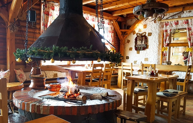 Circular fire pit inside the restaurant