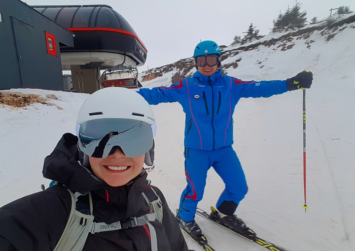 Mel B and her guide at he top of the ski run